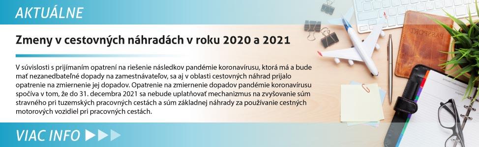 Zmeny v cestovných náhradách v roku 2020 a 2021