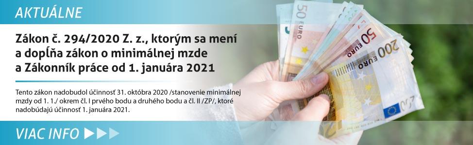 Návrh zákona, ktorým sa mení a dopåòa zákon è. 663/2007 Z. z. o minimálnej mzde - informácia