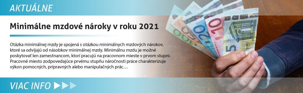 Minimálne mzdové nároky v roku 2021