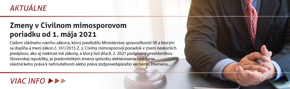Zmeny v Civilnom mimosporovom poriadku od 1. mája 2021
