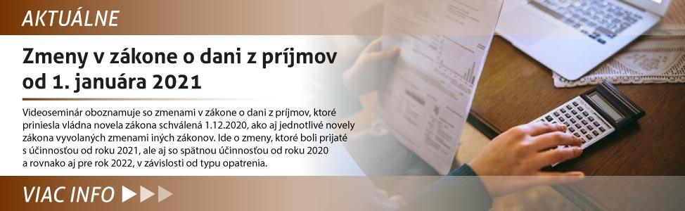 Zmeny v zákone o dani z príjmov od 1. januára 2021