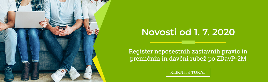 Register neposestnih zastavnih pravic in premiènin in davèni rube¾ po ZDavP-2MP